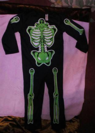 Карнавальный новогодний костюм скелет, кощей безсмертный светится 5-6лет george