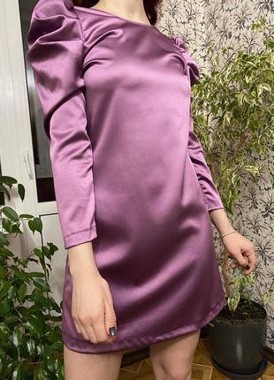 Шикарное атласное сиреневое платье