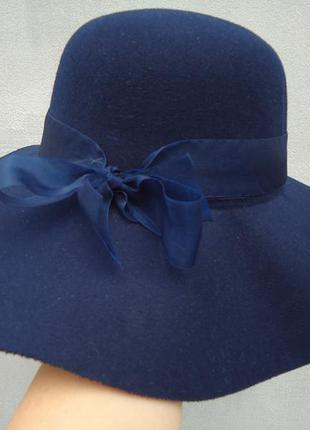 Шляпа женская с бантиком синяя