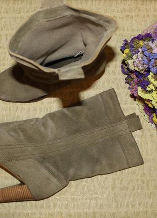 38-39 25см asos замшевые сапоги на каблуке широкая холявка