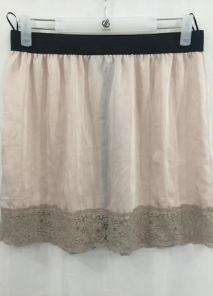 Бежевая юбка с кружевом topshop