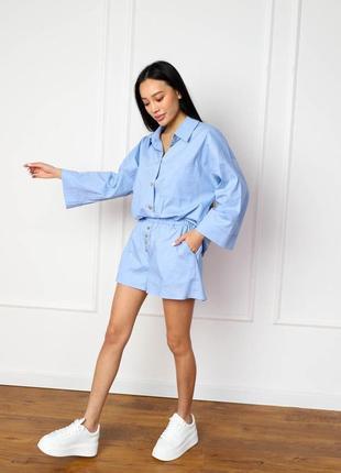Пижама костюм для дома лен с пуговицами рубашка шорты свободный крой