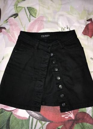Юбка джинсовая чёрная