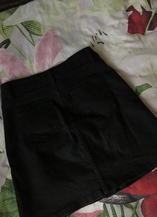 Юбка джинсовая чёрная4 фото