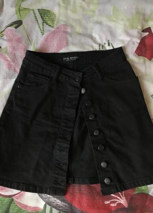 Юбка джинсовая чёрная2 фото