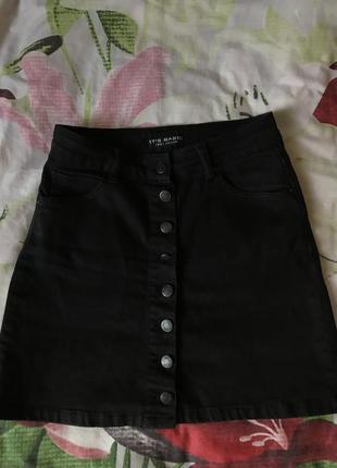 Юбка джинсовая чёрная3 фото
