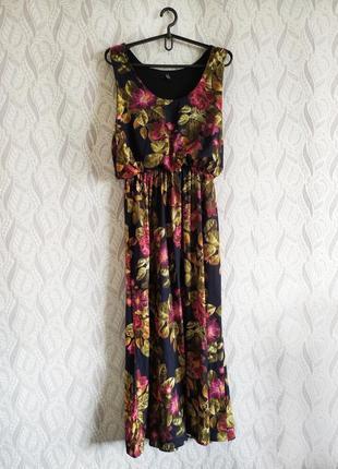 H&m квіткова міді-сукня з відрізною талією на гумці