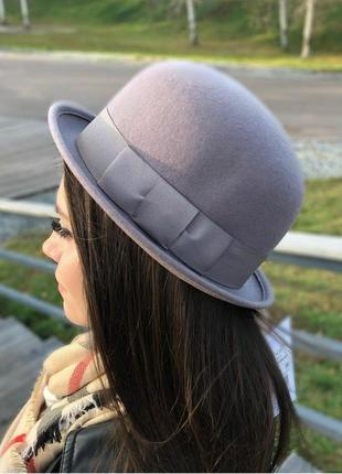 Серая  шерстяная шляпа котелок капелюх казанок от h&m