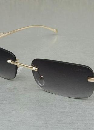 Cartier очки унисекс солнцезащитные модные узкие безоправные темно серые