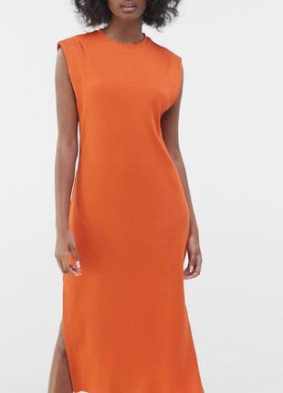Сукня міді в рубчик bershka