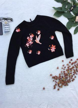 Вязаный свитерок с вышитым рисуком  / вышитые цветы  / колибри / в'язаний светр  / колібрі