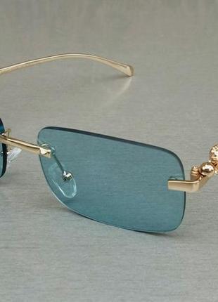 Cartier очки унисекс стильные узкие прямоугольные безоправные голубые