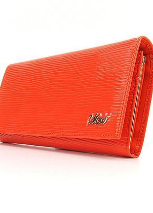 Оранжевый лаковый женский кожаный кошелек на кнопке