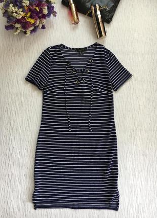 Полосатое платье со шнуровкой , завязками s- размера