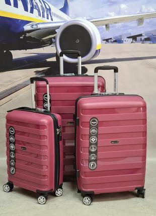 Дорожный чемодан wings hawk pp-07 полипропилен на 4-х колесах