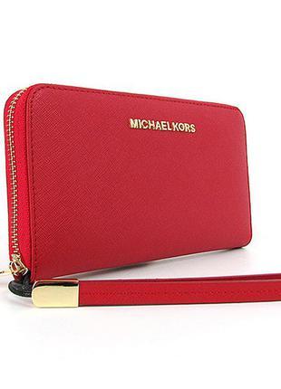 Красный женский кожаный кошелек на молнии с петлицей