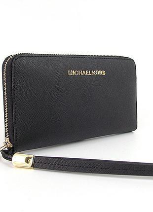 Черный кожаный женский кошелек на молнии с петлицей на руку