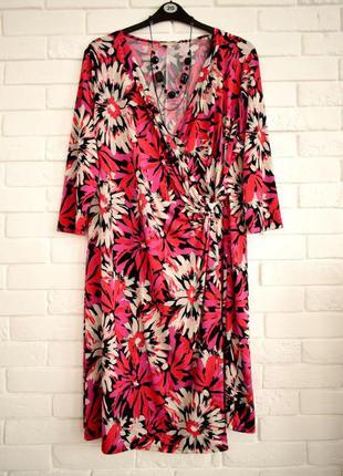 Красивое яркое платье на запах matalan uk22 большой размер в идеальном состоянии