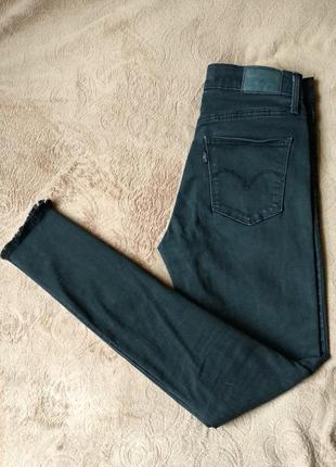 Черные зауженные джинсы slim,высокая посадка,ретро винтаж levis