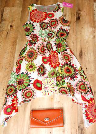 Шикарное новое яркое платье шифон