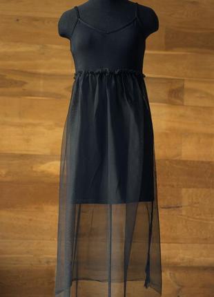 Черное платье сарафан на бретельках с юбкой сеткой женское atmosphere, размер s