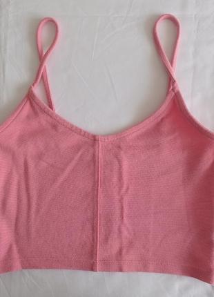 Пудровый розовый кроп-топ на бретелях майка topshop