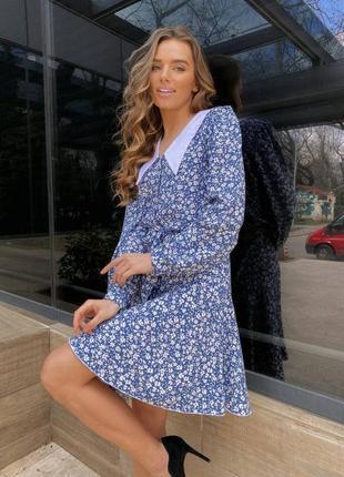 Платье хлопковый штапель  синий
