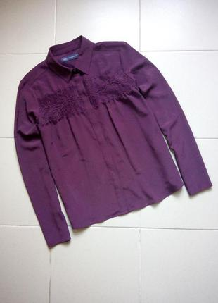 Шифоновая блузочка с кружевом бургунди