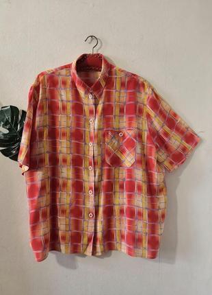 Винтажная рубашка в разноцветную клетку, вискоза, винтаж.