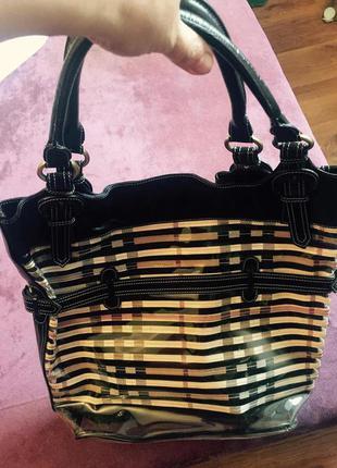 Шикарная козырная кожаная + силикон сумка от burberry