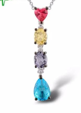 Кулон серебряный с цветными камнями