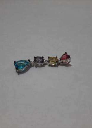 Кулон серебряный с цветными камнями3 фото