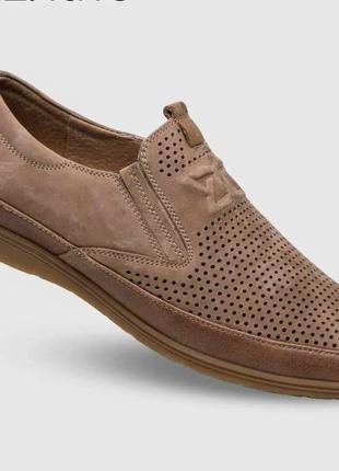 Туфли мокасины мужские летние натуральная кожа--перфорация