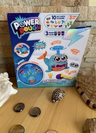 Игровой набор пластилин кит с эффектами свет звук power dough sea creatures canal toys
