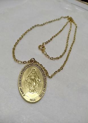 Кулон,подвеска на религиозную тему с цепочкой в золотом цвете