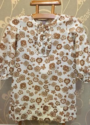 Очень красивая и стильная брендовая блузка в цветах...шёлк/коттон.