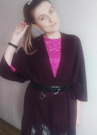 Накидка, пончо, шаль с бахромой в стиле бохо от британского бренда marks & spencer