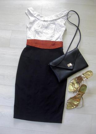 Платье karen millen комбинированное белое чёрное классическое коттон офис облегающее
