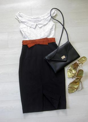 Платье karen millen комбинированное белое чёрное классическое коттон офис облегающее3 фото