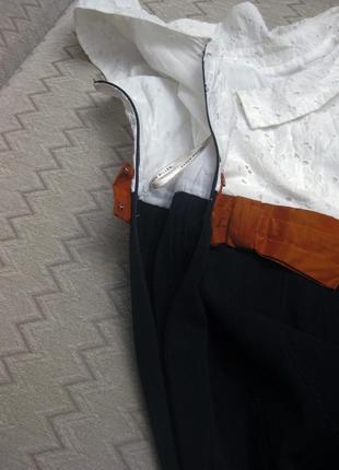 Платье karen millen комбинированное белое чёрное классическое коттон офис облегающее7 фото