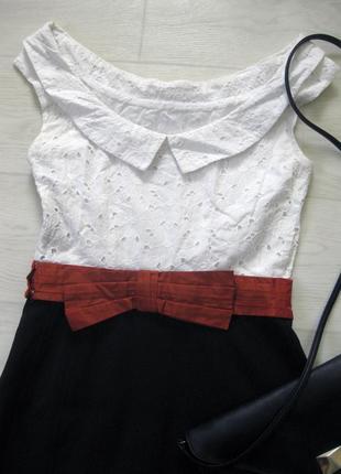 Платье karen millen комбинированное белое чёрное классическое коттон офис облегающее4 фото