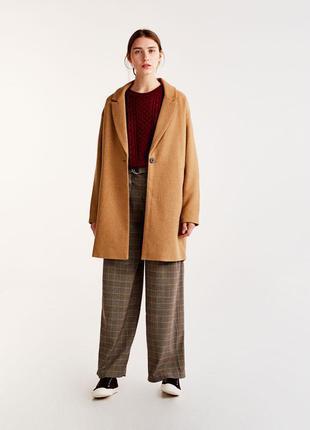 Новое базовое бежевое пальто pull&bear (s,m,l) фасон кокон оверсайз oversize