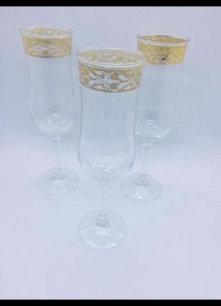 Италия 3 бокала для шампанского роспись золотом 24 к вручную