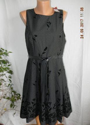 Новое платье в горошек с бархатными цветами