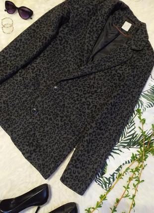 Стильное пальто пиджак жакет в леопардовый принт