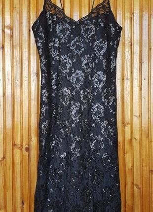Красивое нарядное вечернее миди платье, сарафан h&m в пайетках.