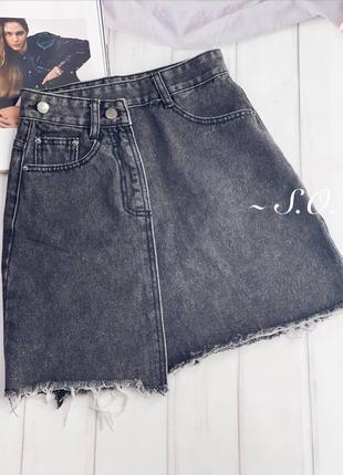 Юбка с ассиметрией джинсовая новая2 фото