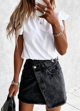Юбка с ассиметрией джинсовая новая