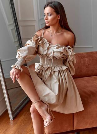 Платье льняноев бежевом цвете