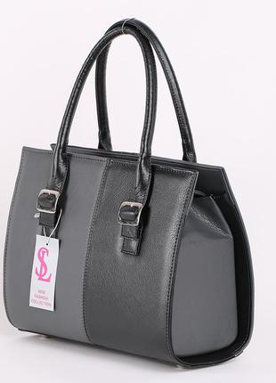 Женская деловая каркасная сумка в черно-серой комбинации